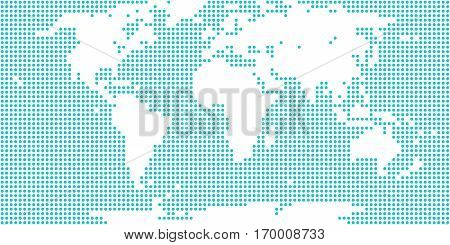 World map atlas in flat dotted style in circular shapes. Quick and easy recolorable shape. Vector illustration a graphic element