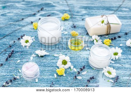 organic cosmetics with camomile on blue background.
