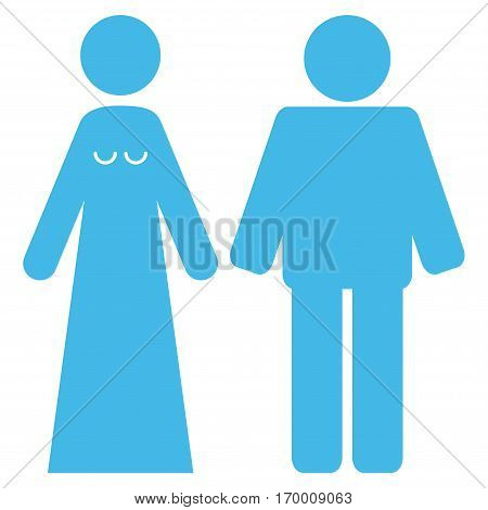 Married Groom And Bribe vector icon symbol. Flat pictogram designed with light blue and isolated on a white background.