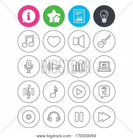 Information, light bulb and report signs. Music icons. Musical note, acoustic guitar and microphone. Notebook, dynamic and headphones symbols. Favorite star symbol. Flat buttons. Vector