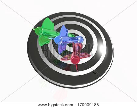 Color arrows on the target white background 3D illustration.