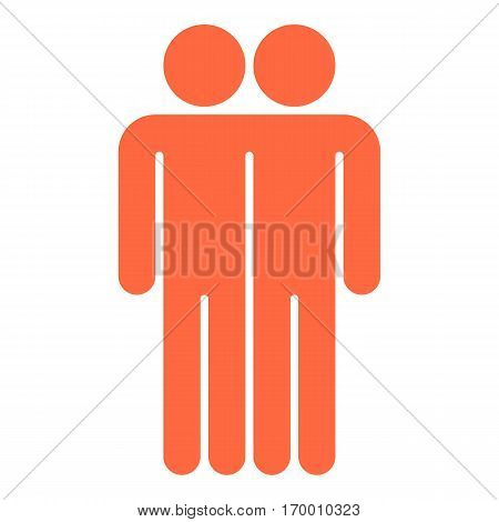 Two men stands with his hands down. Quick and easy recolorable shape. Vector illustration a graphic element