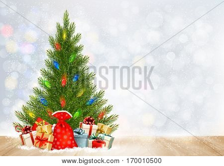 Holiday Christmas background with gift boxes and Christmas tree. Vector.