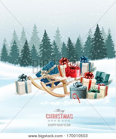 Holiday Christmas greeting card with a colorful gift boxes and retro sledge. Vector.