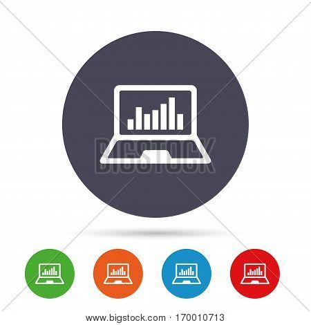 Laptop sign icon. Notebook pc with graph symbol. Monitoring. Round colourful buttons with flat icons. Vector