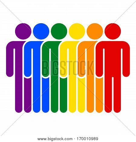 Use it in all your designs. Color logotype six man LGBT movement rainbow flag. Quick and easy recolorable shape. Vector illustration a graphic element