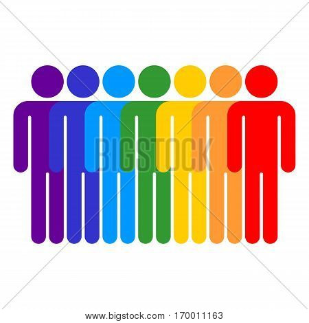 Use it in all your designs. Seven men stands with his hands down. Quick and easy recolorable shape. Vector illustration a graphic element