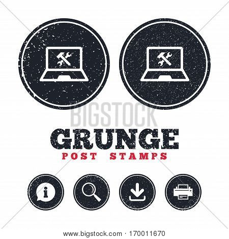 Grunge post stamps. Laptop repair sign icon. Notebook fix service symbol. Information, download and printer signs. Aged texture web buttons. Vector