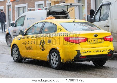 Moscow, Russia, December, 8, 2016: Close up image of Moscow yellow taxi