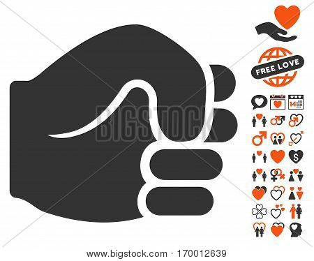Fist icon with bonus dating pictures. Vector illustration style is flat iconic symbols for web design app user interfaces.