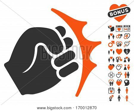 Fist Strike pictograph with bonus decorative images. Vector illustration style is flat iconic symbols for web design app user interfaces.
