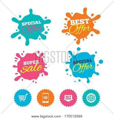Best offer and sale splash banners. Online shopping icons. Smartphone, shopping cart, buy now arrow and internet signs. WWW globe symbol. Web shopping labels. Vector