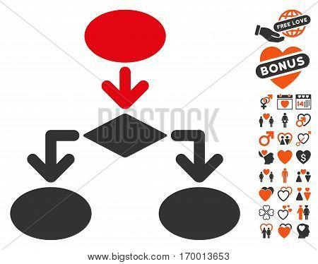 Flowchart pictograph with bonus decorative icon set. Vector illustration style is flat iconic symbols for web design app user interfaces.