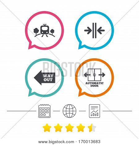 Train railway icon. Overground transport. Automatic door symbol. Way out arrow sign. Calendar, internet globe and report linear icons. Star vote ranking. Vector