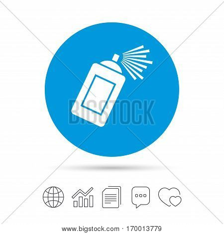 Graffiti spray can sign icon. Aerosol paint symbol. Copy files, chat speech bubble and chart web icons. Vector