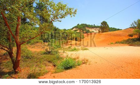 Ochre cliffs in Rustrel in Rustrel, Colorado Provencal, Provence, France