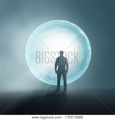 people in front of portal, 3d  illustration