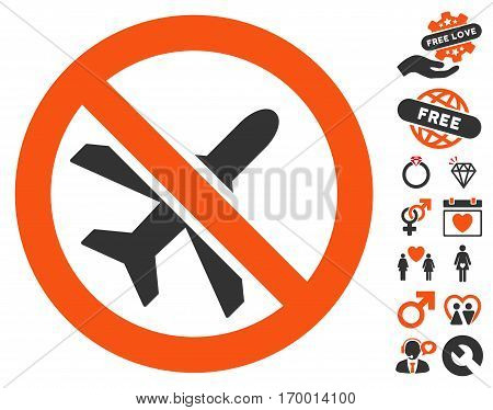 Forbidden Ariplanes pictograph with bonus dating pictograph collection. Vector illustration style is flat iconic elements for web design app user interfaces.