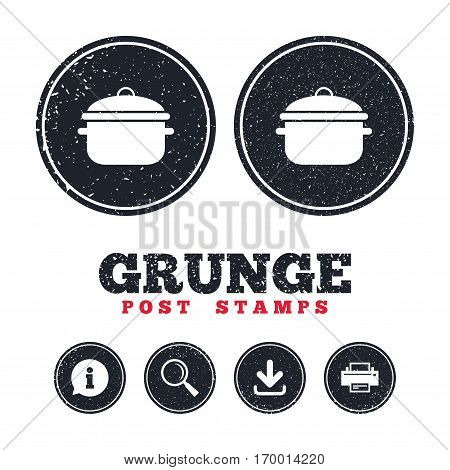 Grunge post stamps. Cooking pan sign icon. Boil or stew food symbol. Information, download and printer signs. Aged texture web buttons. Vector