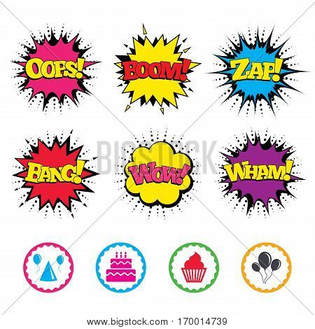 Comic Wow, Oops, Boom and Wham sound effects. Birthday party icons. Cake, balloon, hat and muffin signs. Celebration symbol. Cupcake sweet food. Zap speech bubbles in pop art. Vector
