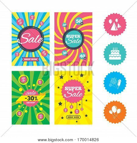 Web banners and sale posters. Birthday party icons. Cake, balloon, hat and muffin signs. Fireworks with rocket symbol. Double decker with candle. Special offer and discount tags. Vector