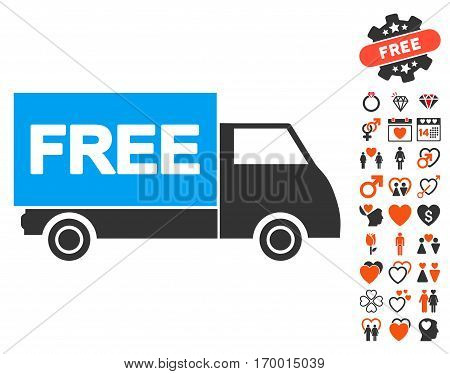 Free Shipment pictograph with bonus marriage symbols. Vector illustration style is flat iconic elements for web design app user interfaces.