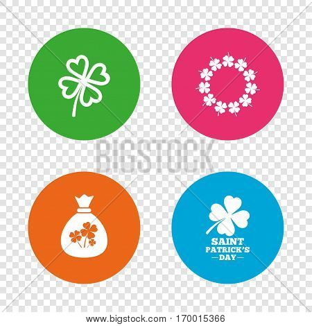 Saint Patrick day icons. Money bag with clover sign. Wreath of quatrefoil clovers. Symbol of good luck. Round buttons on transparent background. Vector