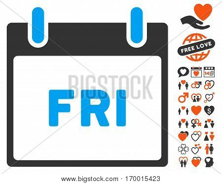 Friday Calendar Page pictograph with bonus lovely images. Vector illustration style is flat iconic elements for web design app user interfaces.