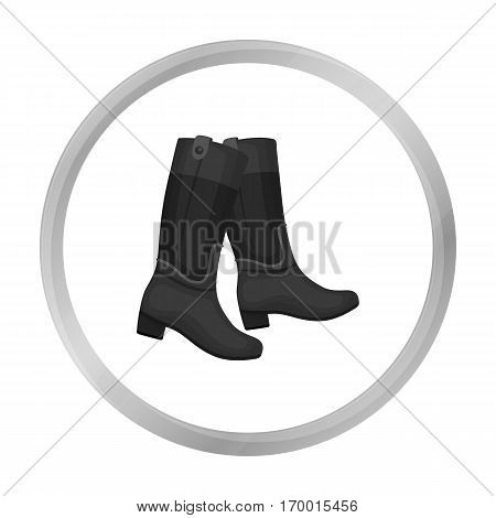 Jockey's high boots icon in monochrome design isolated on white background. Hippodrome and horse symbol stock vector illustration.