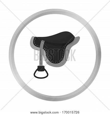 Saddle icon in monochrome design isolated on white background. Hippodrome and horse symbol stock vector illustration.