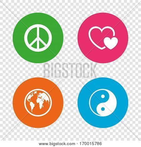 World globe icon. Ying yang sign. Hearts love sign. Peace hope. Harmony and balance symbol. Round buttons on transparent background. Vector