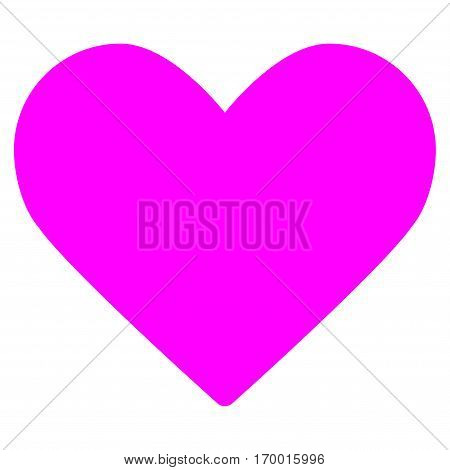 Love Heart vector icon symbol. Flat pictogram designed with magenta and isolated on a white background.