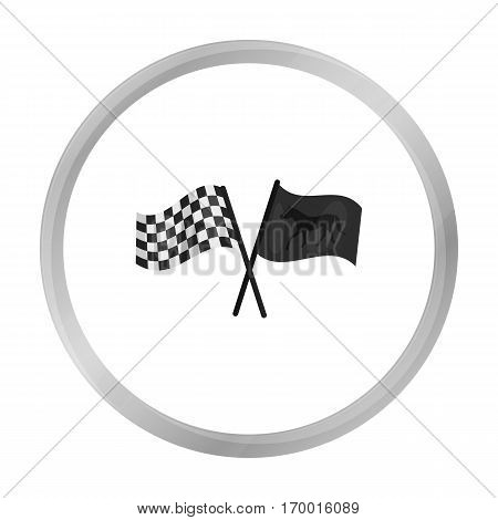 Crossed checkered and equestrian flags icon in monochrome design isolated on white background. Hippodrome and horse symbol stock vector illustration.