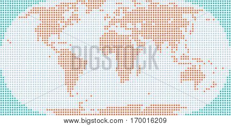 World map atlas background in flat dotted style in circular shapes. Quick and easy recolorable shape. Vector illustration a graphic element