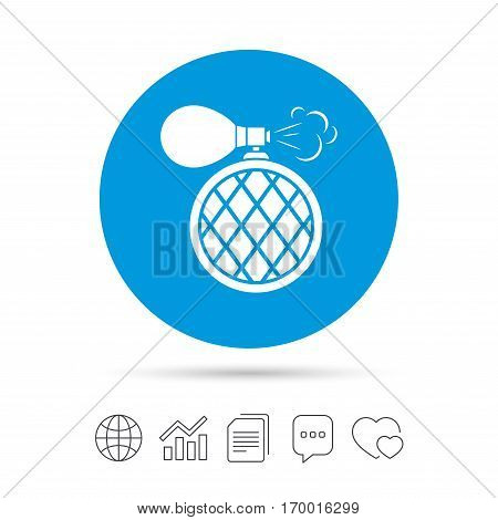 Perfume bottle sign icon. Glamour fragrance symbol. Copy files, chat speech bubble and chart web icons. Vector