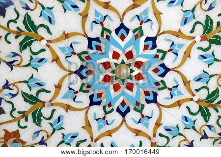 AGRA, INDIA - FEBRUARY 14 : Traditional colorful floral marble tabletops for sale in Agra, Uttar Pradesh, India on February, 14, 2016.