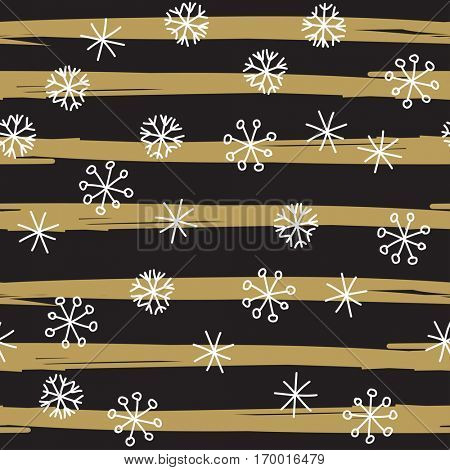 Stylish snowflake pattern. Retro background with hand drawn white snowflakes on black and gold striped background.