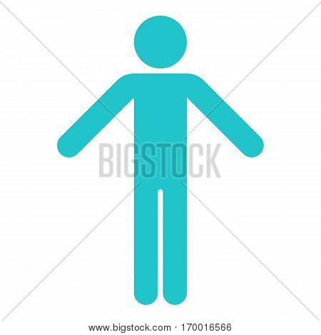 Man stands with his hands down. Quick and easy recolorable shape. Vector illustration a graphic element