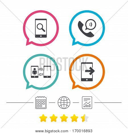 Phone icons. Smartphone with speech bubble sign. Call center support symbol. Synchronization symbol. Calendar, internet globe and report linear icons. Star vote ranking. Vector