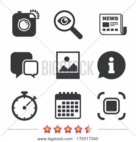 Hipster retro photo camera icon. Autofocus zone symbol. Stopwatch timer sign. Landscape photo frame. Newspaper, information and calendar icons. Investigate magnifier, chat symbol. Vector