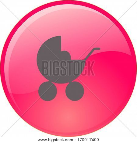 Flat icon. Baby carriage.