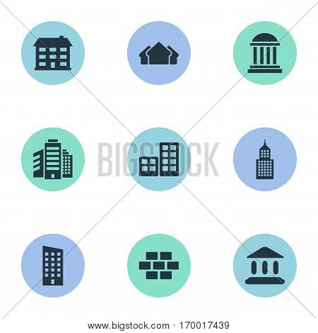 Set Of 9 Simple Structure Icons. Can Be Found Such Elements As Structure, Academy, Flat And Other.
