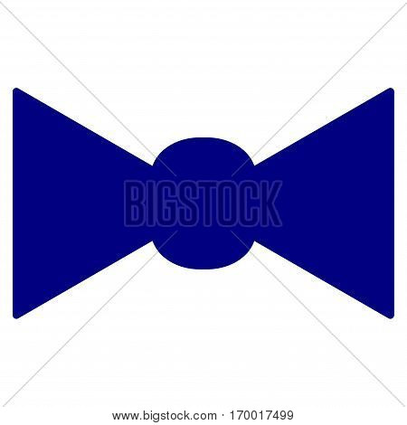 Bow Tie vector icon symbol. Flat pictogram designed with navy blue and isolated on a white background.