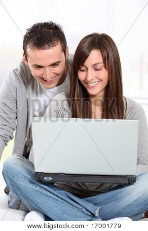 Young couple surfing on internet