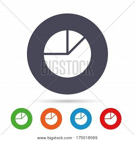 Pie chart graph sign icon. Diagram button. Round colourful buttons with flat icons. Vector