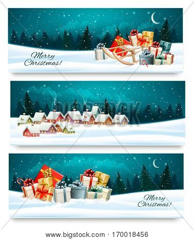 Three Christmas festive banners with landscapes and gift boxes. Vector.