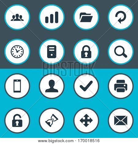 Set Of 16 Simple Practice Icons. Can Be Found Such Elements As User, Arrows, Message And Other.