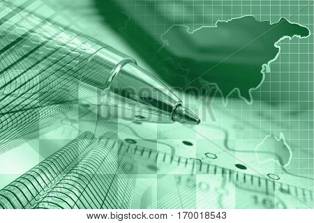 Business background in greens with buildings map graph and pen.