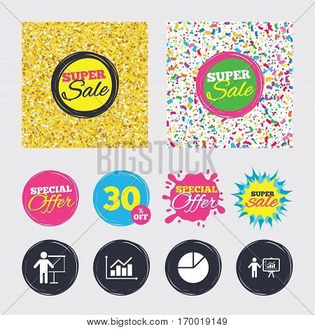 Gold glitter and confetti backgrounds. Covers, posters and flyers design. Diagram graph Pie chart icon. Presentation billboard symbol. Supply and demand. Man standing with pointer. Sale banners