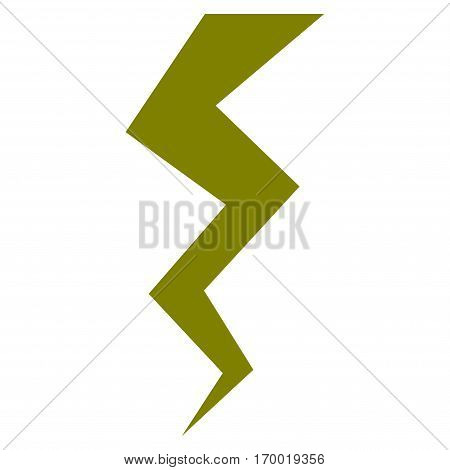 Thunder Crack vector icon symbol. Flat pictogram designed with olive and isolated on a white background.